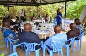 Travaux de groupe facilites par Ashley Meek, Coordinatrice WAH à Oxfam GB