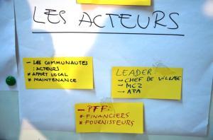 Travaux de groupe sur les acteurs à impliquer dans la définition des zones et villages d'intervention