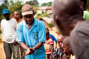Démonstration de lavage des mains,                    Zone de santé : Bolobo, Province : Mai Ndombe
